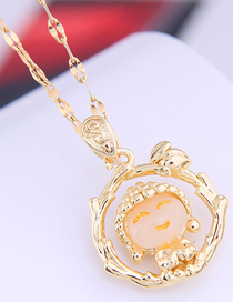 Fashion Golden Happy Doll Round Alloy Necklace