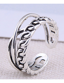 Fashion Silver Color Cross Chain Alloy Open Ring