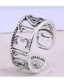 Fashion Silver Color Digital Hollow Open Ring