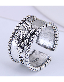 Fashion Silver Color Angel Letter Wide Open Ring