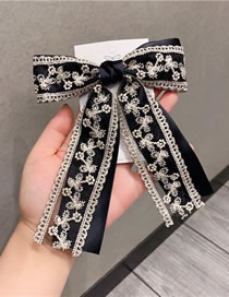 Fashion Black Lace Big Bow Embroidery Hair Clip