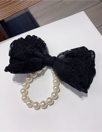 Fashion Black (pearl Hair Ring) Lace Big Bow Net Yarn Embroidery Hairpin Hair Rope