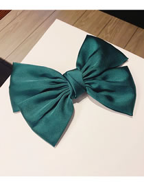 Fashion Green Pure Color Hairpin With Bow Silk Ribbon