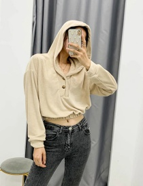 Fashion Apricot Terry Cloth Hooded Solid Color Top