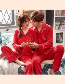 Fashion Alphabet Red Printed Cotton Long-sleeved Home Service Suit Couple Pajamas Women