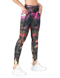 Fashion Pants Yoga Wear With Pocket Leggings And Leaf Print Sports Suit