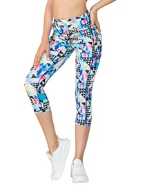 Fashion Pants Hollow Printed Yoga Wear With Pocket Leggings Bra Sports Suit