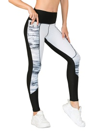 Fashion Pants Stitching Contrast Color Yoga Wear With Pockets Leggings Bra Sports Suit