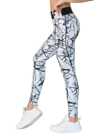 Fashion Pants Printed Yoga Wear With Pocket Leggings Bra Sports Suit