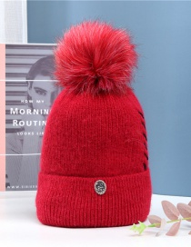 Fashion Scarlet Dome Wool Ball Knitted Beanie