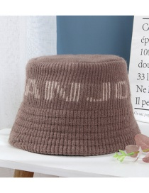 Fashion Brown Letter Rimless Dome Satin Curled Knitted Hat