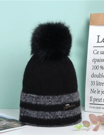 Fashion Black Domeless Knitted Hat With Metal Letters