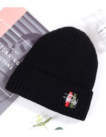 Fashion Black Warp Knitted Dome Letter Embroidery Woolen Knit Hat