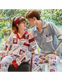 Fashion Fujiya Printed Cardigan Cotton Long-sleeved Thin Home Service Suit Couple Pajamas Women