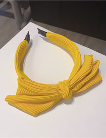 Fashion Yellow Striped Bowknot Wide-sided Solid Color Hair Band