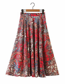 Fashion Red Floral Print Pleated Skirt