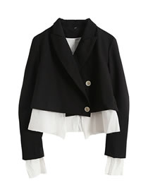 Fashion Black Fake Two Pieces Of Blazer With Tie After Stitching
