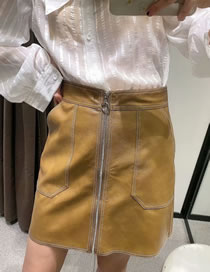 Fashion Yellow Zip Top Stitch Double Pocket Skirt