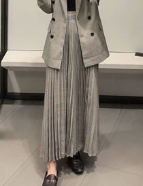 Fashion Gray Check Print Pleated Loose Skirt