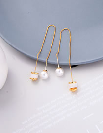 Fashion Gold Color Pearl Opal Chain Alloy Earrings