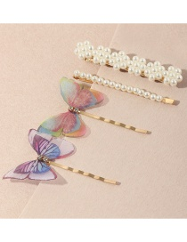 Fashion Suit Flower Butterfly Pearl Alloy One-word Hairpin Set