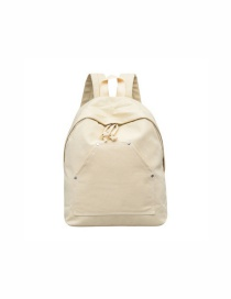Fashion Creamy-white Canvas Front Pocket Stitching Backpack