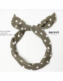 Fashion Army Green And White Waves Polka Dot Printed Wire Bow Headband