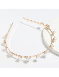 Fashion Flowers White Alloy Inlaid Pearl Flower Hair Band