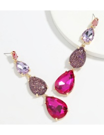 Fashion Rose Red Drop-shaped Alloy Diamond Resin Multilayer Earrings