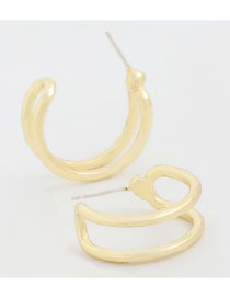 Fashion Gold Color Alloy Double-layer Hollow C-shaped Earrings