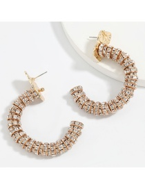 Fashion Gold Color C-shaped Alloy Diamond And Acrylic Earrings