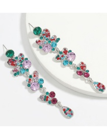 Fashion Color Alloy Diamond Flower Multilayer Earrings