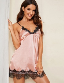 Pink Lace Edge Home Suspender Pajamas