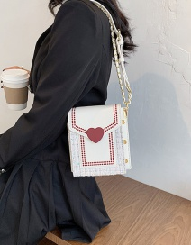 Fashion Pu Chain Love Embroidery Thread Stitching One-shoulder Messenger Bag