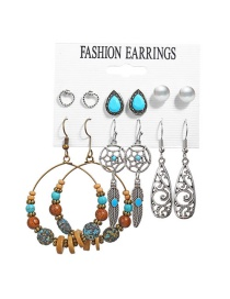 Fashion Alloy Sun Leaf Moon Hollow Carved Alloy Earrings Set