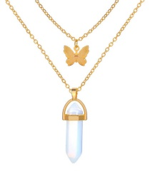 Fashion Alloy Crystal Stone Butterfly Pendant Alloy Multilayer Necklace