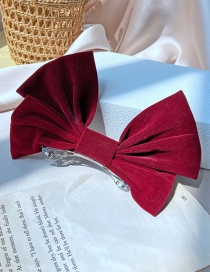 Fashion Fabric + Alloy Three-dimensional Solid Color Big Bow Fabric Alloy Hairpin