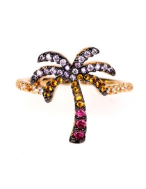 Fashion Color Mixing Coconut Tree Copper Gold-plated Diamond Ring