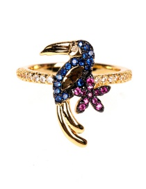 Fashion Color Mixing Two Tone Plating Toucan Diamond Open Ring