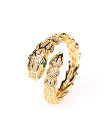 Fashion Gold Color Gold-plated Copper And Diamond Snake-shaped Open Ring