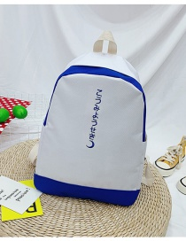 Fashion White With Blue Contrast Stitching Letter Print Backpack