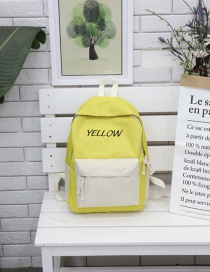 Fashion Yellow With Hundred Nylon Fabric Stitching Contrast Letter Backpack