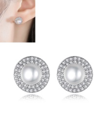 Fashion Platinum Copper And Zircon Pearl Round Earrings