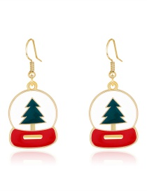 Fashion Color Dripping Christmas Tree Round Alloy Stud Earrings