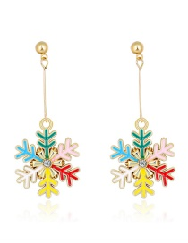 Fashion Color Oil Dripping Snowflake Diamond And Contrast Alloy Earrings