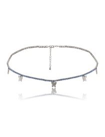 Fashion White K Blue Diamond Butterfly Diamond Alloy Waist Chain
