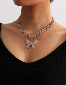 Fashion Gold Color Diamond-studded Butterfly Thick Chain Alloy Necklace