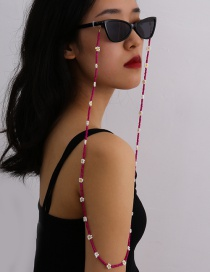 Fashion Rose Red Daisy Hand-woven Rice Bead Glasses Chain