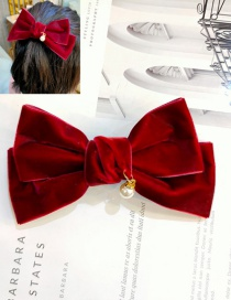 Fashion Big Red Bow Big Bow Gold Velvet Hanging Pearl Hairpin