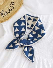 Fashion Triangle Blue Small Triangle Knitted Contrast Wool Scarf